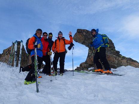 Le team : Andy, Richard, Miles, Peter et Philipp au Col du Belvédère. Bravo !