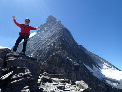 Au retour, Michel à la pose devant le Matterhorn