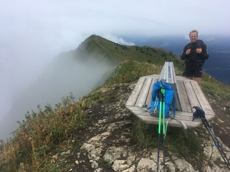 Au Môle, Florent découvre la belle ambiance du sommet. Superbe !