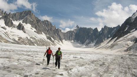 Catherine et Patrick au retour sur le Glacier d'Argentière