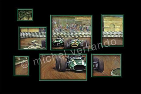 john surtees cooper maserati grand prix mexico art painting illustration