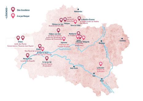 Carte de la Route de la Rose du Loiret