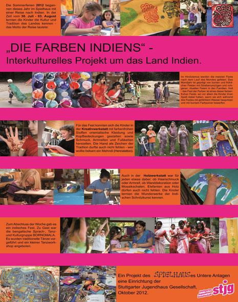 """Plakat mit Text und BIldern zum Spielhaus-Projekt """"Die Farben Indiens"""" von Oktober 2012"""