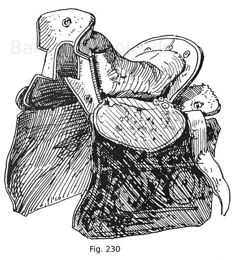 Fig. 230. Tatarischer, auch altrussischer Sattel mit Bezug aus grünem Damast. Die Stege sind mit Fischhaut (Squalus cetrina) belegt. Die Seitenblätter aus Rindsleder sind mit orientalischen Dessins bemalt. Beutestück aus dem Feldzug von 1556.