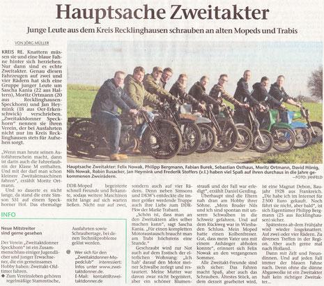 Recklinghäuser Zeitung, Titelbild und  Artikel S.14, 13.01.2014