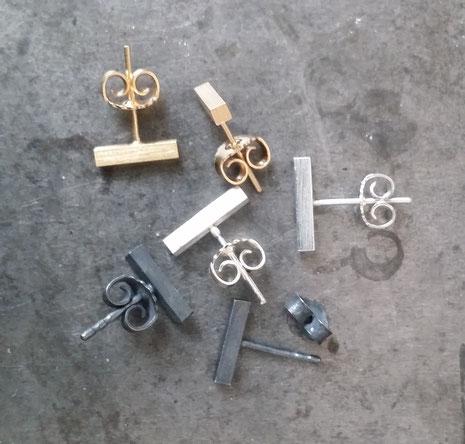 Ohrstecker silber, gold, geschwärzt, Designerin Maren Düsel, Schmuckdesign aus Düsseldorf, zeitgenössisches schmuckdesign, handgefertigt, minimalistisches design