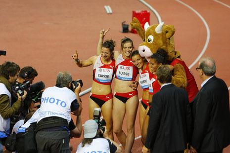 Athletissima 2013 - Sieg der Schweizer Staffel 4x100m
