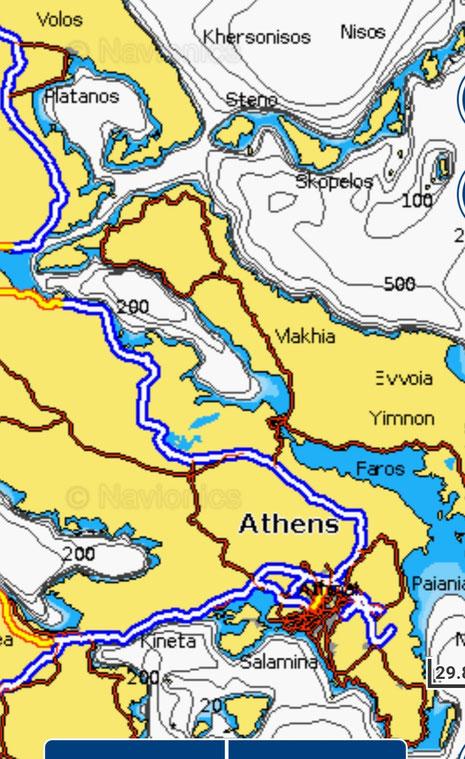Von Lavrion (ganz rechts unten, ohne Beschriftung) nach Volos (links oben)