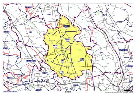 埼玉県越谷市の朝日新聞配布地図