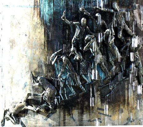 Vertreibung, Misshandlung und Vernichtung jüdischer Bürger Hechingens, , Detail aus dem Rathausbrunnen Hechingen,  Bildhauer: Klaus Ringwald, Guss: Hans Mayr, Foto: Manuel Werner