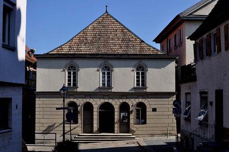 Die Fassade der Synagoge in Hechingen von der Synagogenstraße aus, von Nordwest, Foto: Manuel Werner, alle Rechte vorbehalten!