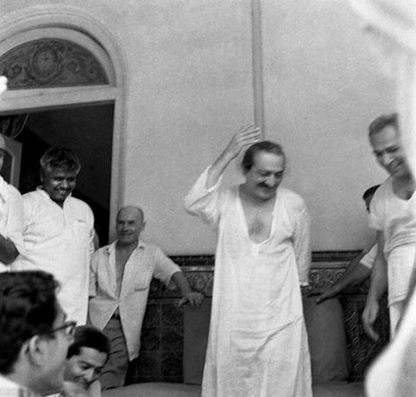 1960s  - Guruprasad, Poona, India : Meherjee is to the right of Meher Baba