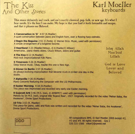 "CD : ""The Kiss"" - back cover. 1st Edition"