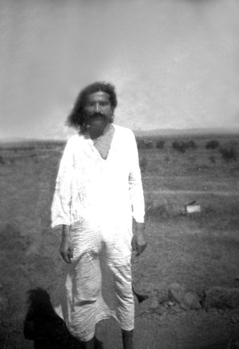 Meher Baba photographed by Paul Brunton at Meherabad, India