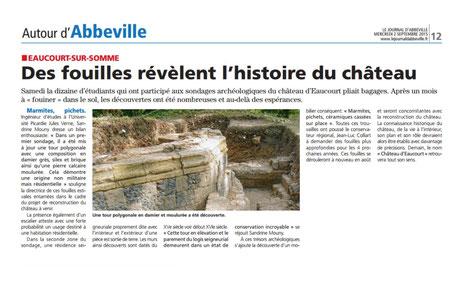 Article de journal sur les fouilles au château d'Eaucourt de l'été 2015