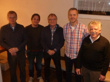 Der neue Vorstand (von links): Dieter König (Schatzmeister), Timo Fröhlich (Jugendwart), Peter Lehnen (Sportwart), Rolf Lange (2. Vorsitzender) und Gero Fröhlich (1. Vorsitzender).