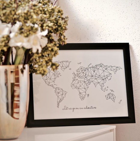 Grafik Poster | Illustrationen | Poster mit Weltkarte | Worldmap