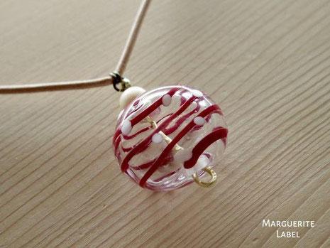 ガラスの風船チャームのネックレス 京都手作り市のお店 マーガレットレーベル