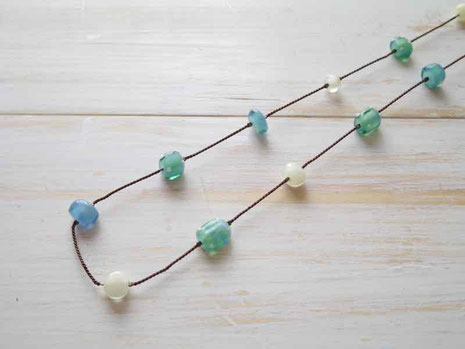 京都 手作り市 ガラスのネックレス
