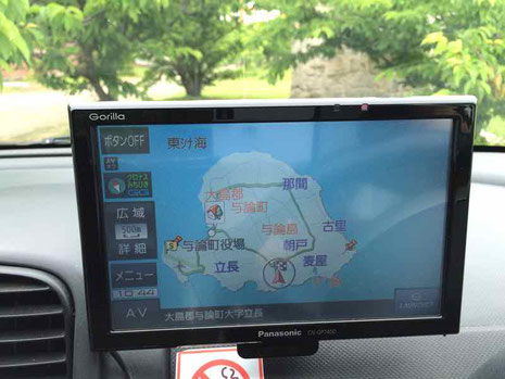ヨロン島旅行ブログ カーナビ利用 どこへいくにも10分程度です カーナビは不要かも!