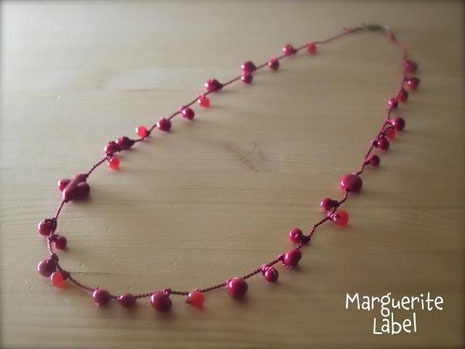Red Opera / Glass Beads Necklace