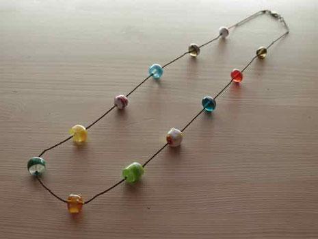 ガラスのネックレス ハンドメイド