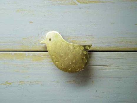 京都毎月15日 知恩寺 百万遍 手づくり市 真鍮ブローチ 小鳥