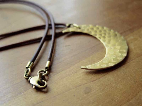 手づくり お月さま真鍮チャームネックレス 京都 手作り市