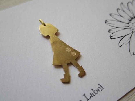 京都 手作り市 真鍮ネックレスチャーム 女の子