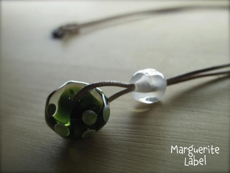 Olive&Clear / Glass Beads