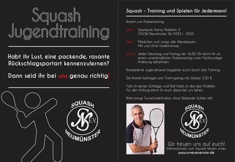 """Flyer zur Aktion """"Squash wirbt Jugend"""""""