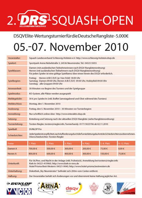 Ausschreibung DRS Squash Open 2010 in Neumünster