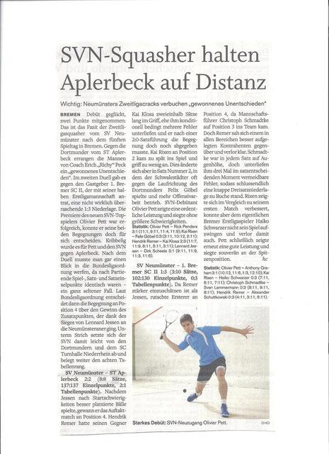 Nachbericht 5. Spieltag Holsteinischer Courier - 18.01.12