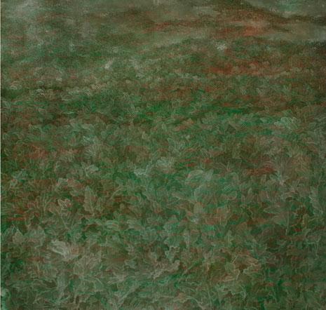 Morgenfrost auf Feld, Acrylfarbe auf Nessel, 100 x 100 cm