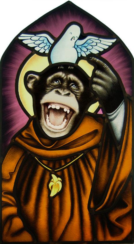 7 - glas in lood heilige aapjes! van rianne willemsen