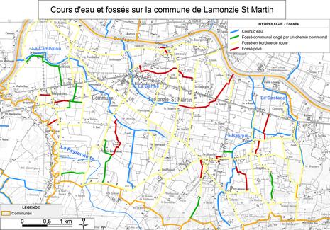 Carte des cours d'eau et fossés de la commune de Lamonzie St Martin - classification fossés publics et privés