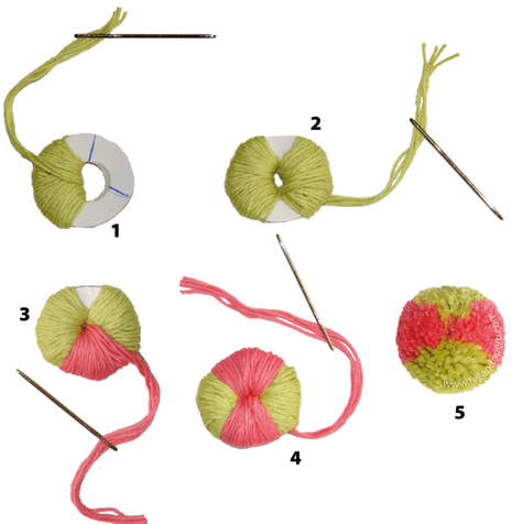 pompones 4 colores