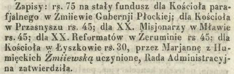 Fundusze na rzecz kościoła żmijewskiego uczynione przez Maryjannę Żmijewską, żonę Pawła - dziedzica ze Żmijewa Szawły [Kurier Warszawski nr 140 z 28 maja 1847 roku]