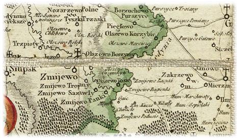 Fragment mapy Województwa Płockiego - Karola de Perthees Pułkownika Wojsk Koronnych; Geografa J.K.M. z 1784 roku