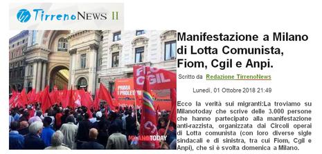 """Tirreno News II: """"Manifestazione a Milano di Lotta Comunista, Fiom, Cgil, Ampi"""""""