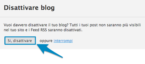 Disattiva blog