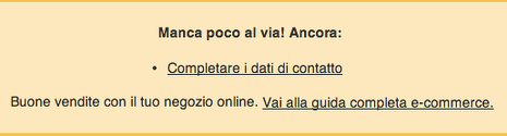 FAQ messaggio d'errore shop