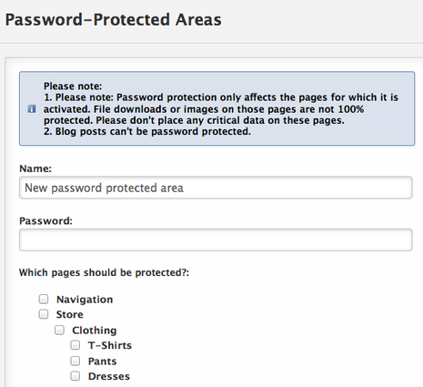 Password Protected Areas