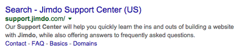 """In this example, """"Search"""" is the Page Title, """"Jimdo Support Center"""" is the Site Title, and the paragraph below is the Page Description."""