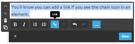 Add links with chain icon