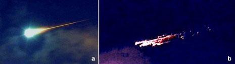 Abb.A zeigt ein Meteor-Ereignis, das als Feuerkugel oder Bolide bezeichnet wird. Man erkennt die beiden Plasmaphasen.  Abb.B ist ein zerschlagener Meteoroid in der letzten Flugphase als Bolide oder Feuerkugel (wikipedia, Thomas Grau)
