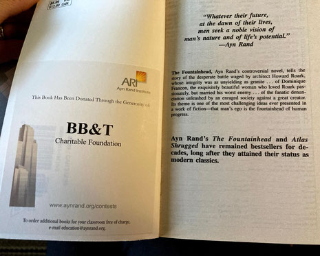 """Image of front inside flap of Ayn Rand novel, with label announcing: """"This Book Has Been Donated Through the Generosity of BB&T Charitable Foundation"""" Photo by the author"""