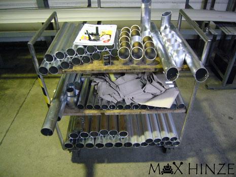 Alle Rohre und Rohrsegmente fertig gesägt, Max Hinze selbst gebautes Marimba selbstgebautes Marimbaphon DIY