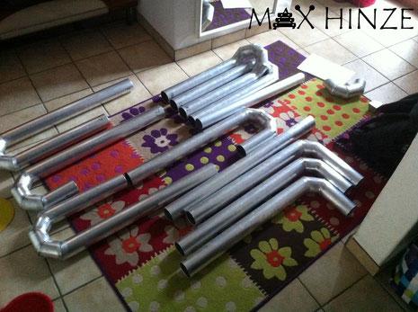 """Gebogene Rohre"" von G#2 bis C2 fertig geschweißt, Max Hinze selbst gebautes Marimba selbstgebautes Marimbaphon DIY"