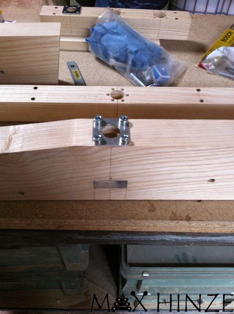 großes Endstück des Marimbaphon, Max Hinze selbst gebautes Marimba selbstgebautes Marimbaphon DIY